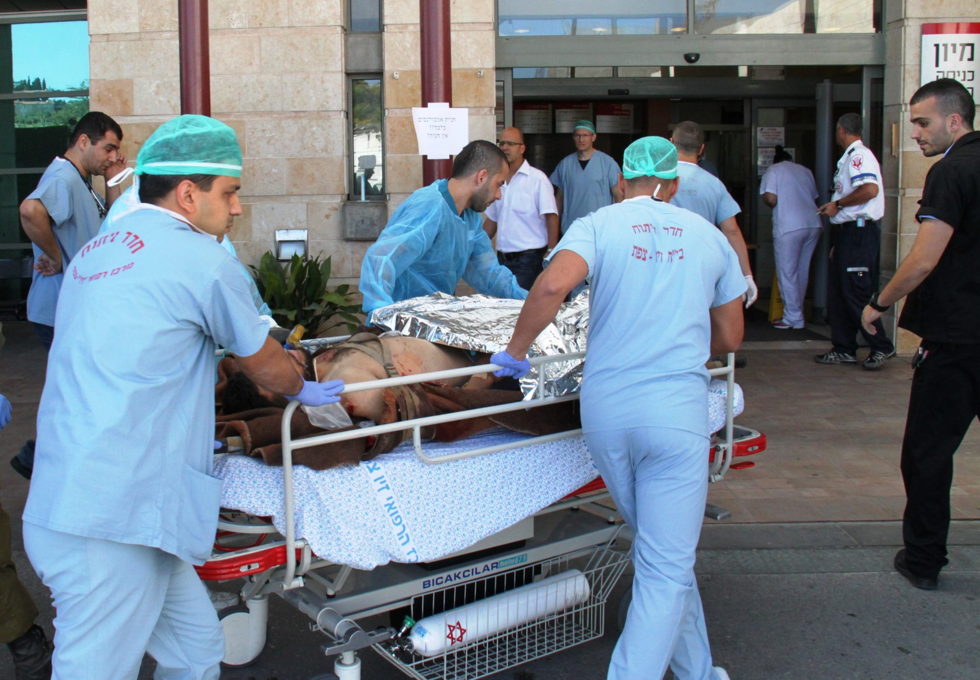 One of the injured Syrian from the civil war in Syria being transferred to the Ziv Medical Center - photo by Simon Haddad