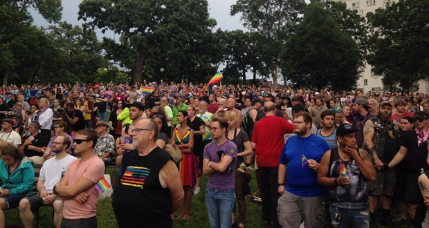 June 12th Vigil in Loring Park following the Pulse Nightclub Shooting in Orlando. Photo: @courtneygodfrey