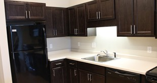 The kitchen of a one-bedroom apartment at Cornerstone Creek.